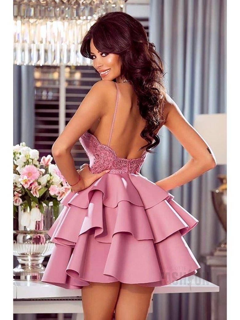 e8195795 Sukienka falbany na ramiączkach z koronką pudrowa A941