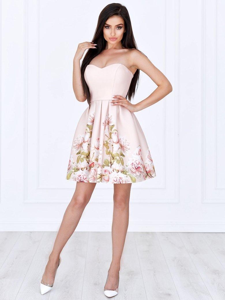 b4a30e0f Sukienka Bella gorsetowa pudrowa w kwiaty A782