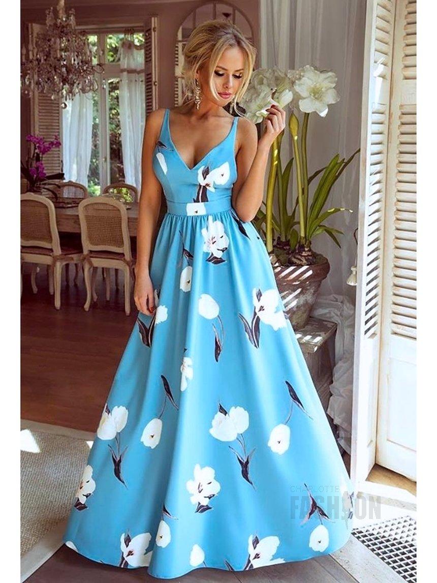 98a020614f Długa suknia Megi błękitna w białe kwiaty A931 błękitny w białe kwiaty