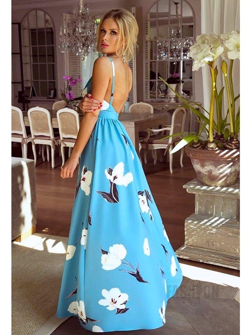 8d1fe7d3b0 Długa suknia Megi błękitna w białe kwiaty A931 błękitny w białe ...