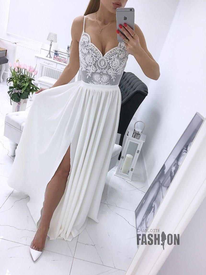 fe32388a51 Długa suknia wizytowa na ramiączkach z koronką szaro ecru A903 szaro-ecru