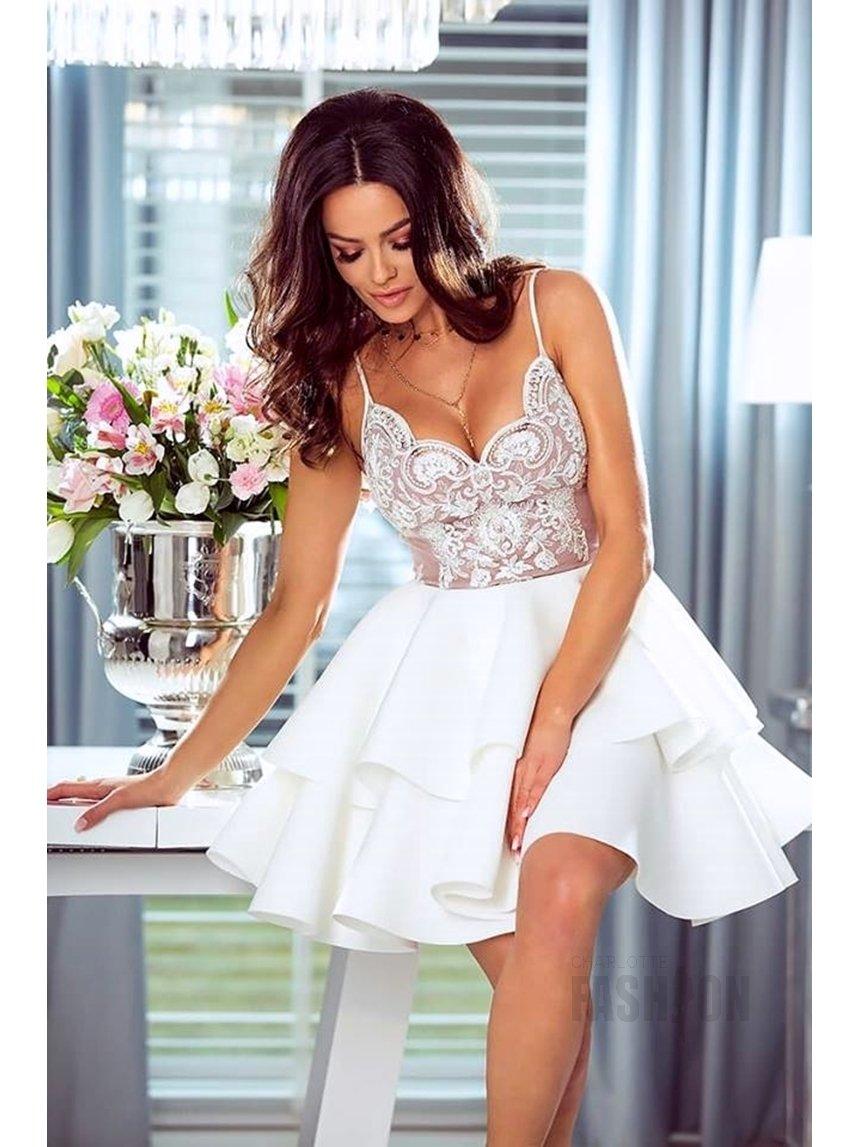 88324176 Sukienka falbany na ramiączkach z koronką beżowo ecru A901