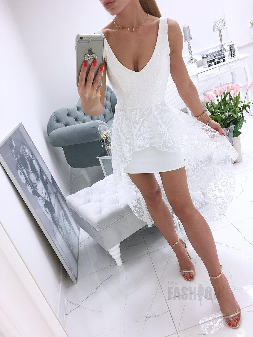 cf4443e9 Sukienka na ramiączkach z białym koronkowym trenem biała A967