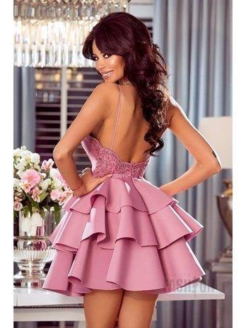 5a6a690283a002 Sukienka falbany na ramiączkach z koronką pudrowa A941