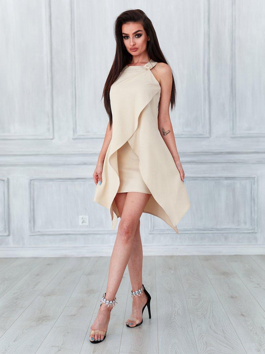 454145c432 Sukienka asymetryczna z ozdobą beżowa A735 beżowy