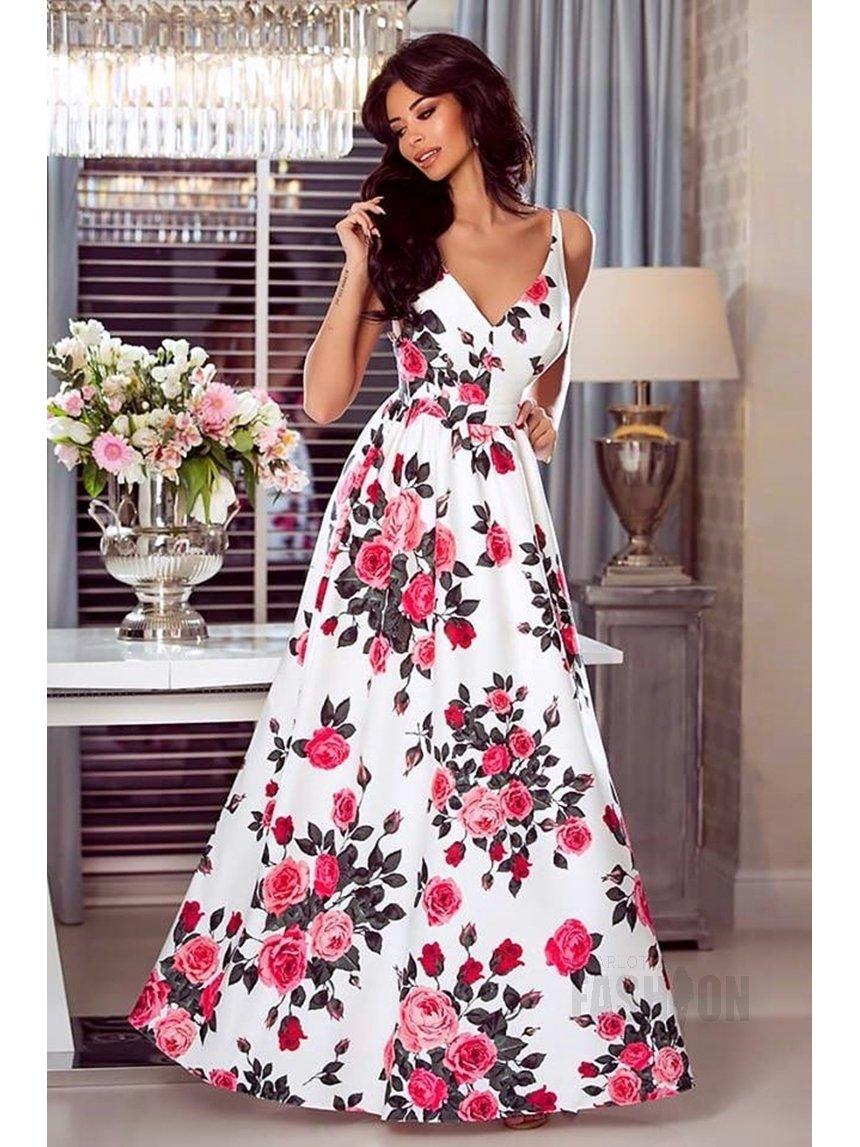 858f713d37e0ce Długa suknia Megi biała w czerwone kwiaty A932 biały w czerwone róże | SALE  ODZIEŻ \ SUKIENKI \ DŁUGIE SUKNIE | Charlotte Fashion