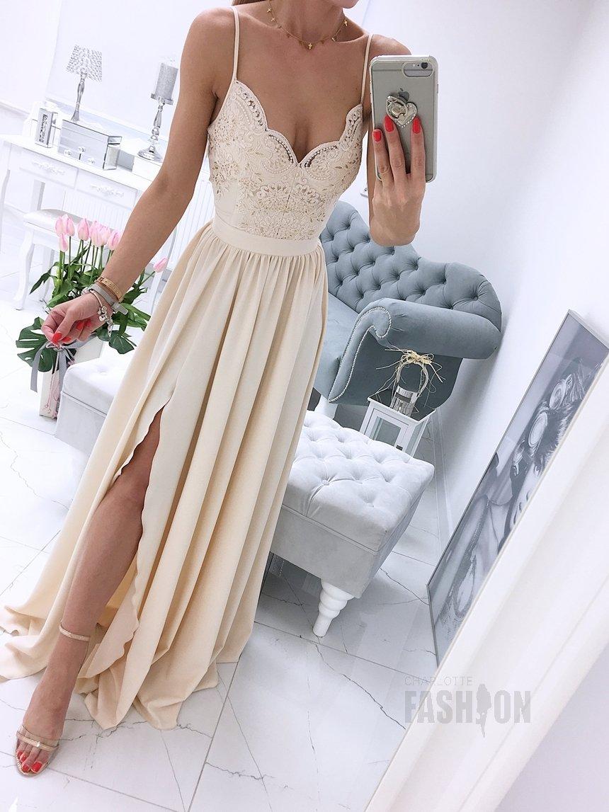 f68480afa98e6f Długa suknia wizytowa na ramiączkach z koronką beżowa A002 beżowy    BESTSELLERY ODZIEŻ \ SUKIENKI \ DŁUGIE SUKNIE   Charlotte Fashion