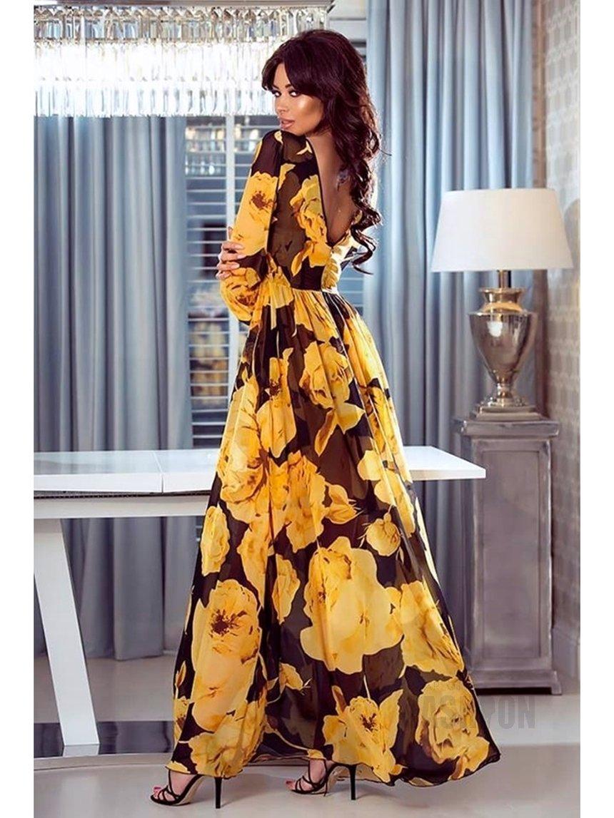 461c90c29c Długa suknia z szyfonu czarna w żółte kwiaty A938 czarna w zółte kwiaty