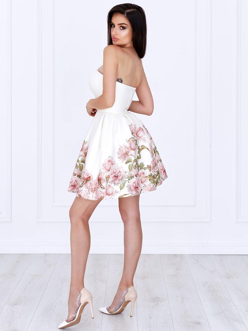 f5675ac4108001 ... Sukienka Bella gorsetowa ecru w kwiaty A783 Kliknij, aby powiększyć ...