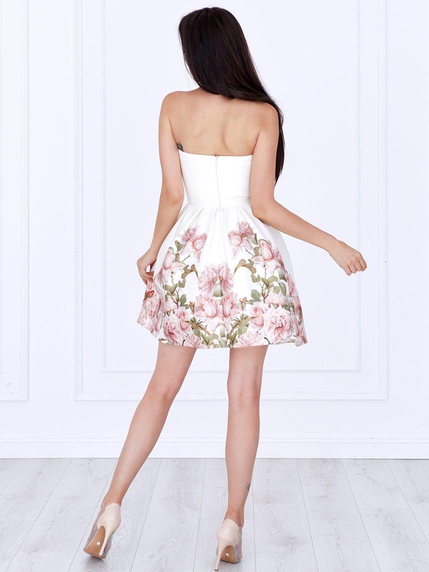 03c8afee820ebf ... Sukienka Bella gorsetowa ecru w kwiaty A783 Kliknij, aby powiększyć