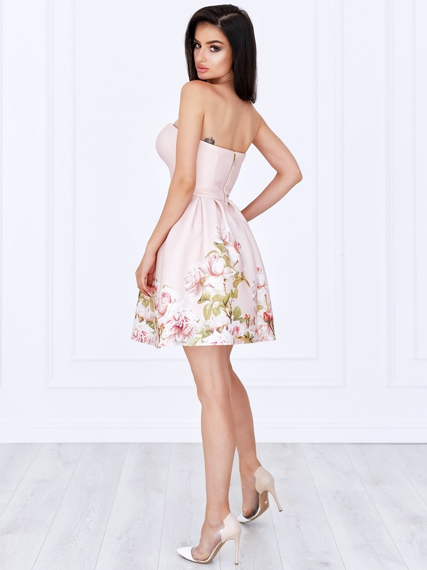 397137e8a00b6e ... Sukienka Bella gorsetowa pudrowa w kwiaty A782 Kliknij, aby powiększyć  ...