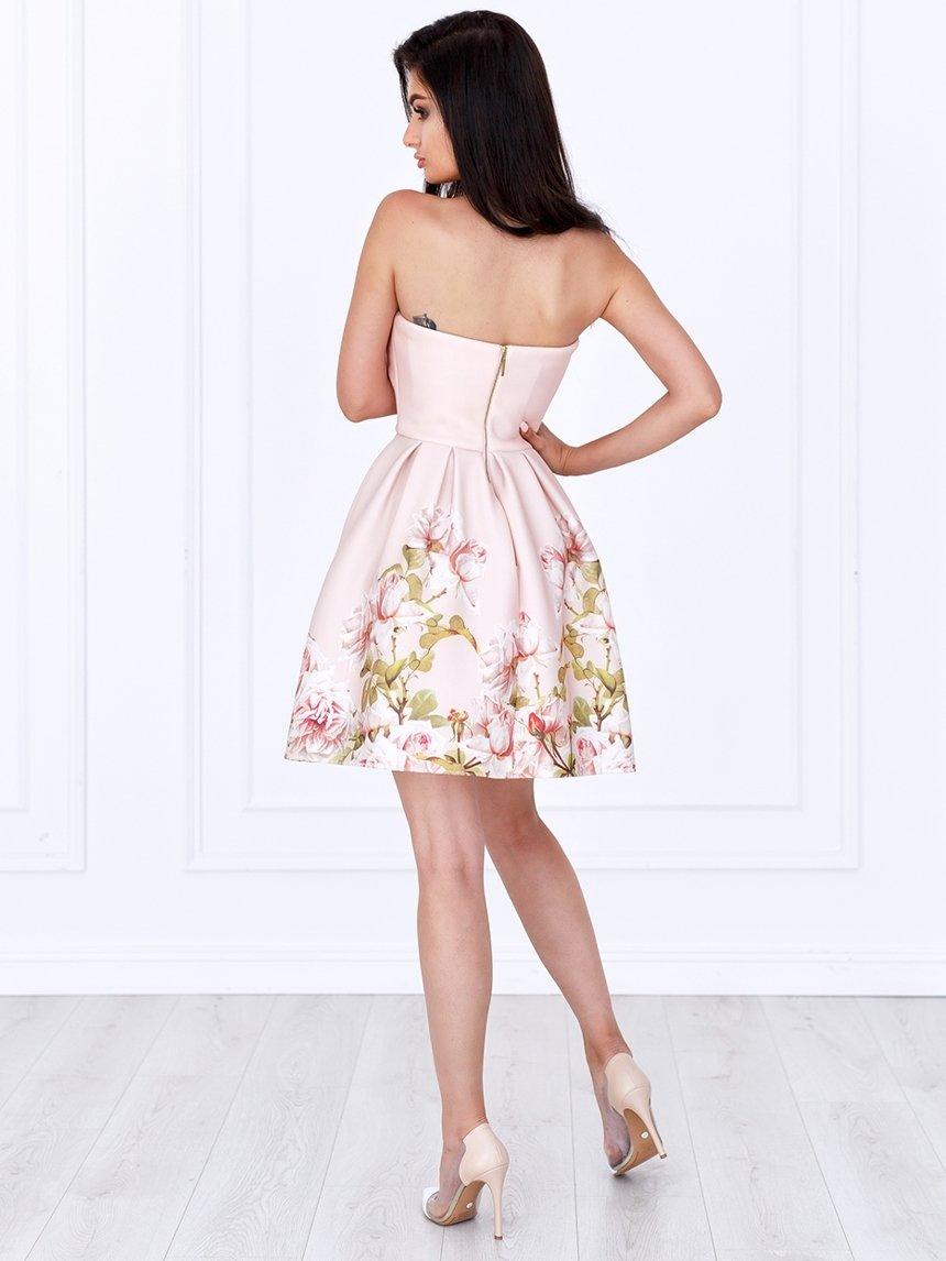 682fe99310 ... Sukienka Bella gorsetowa pudrowa w kwiaty A782 Kliknij